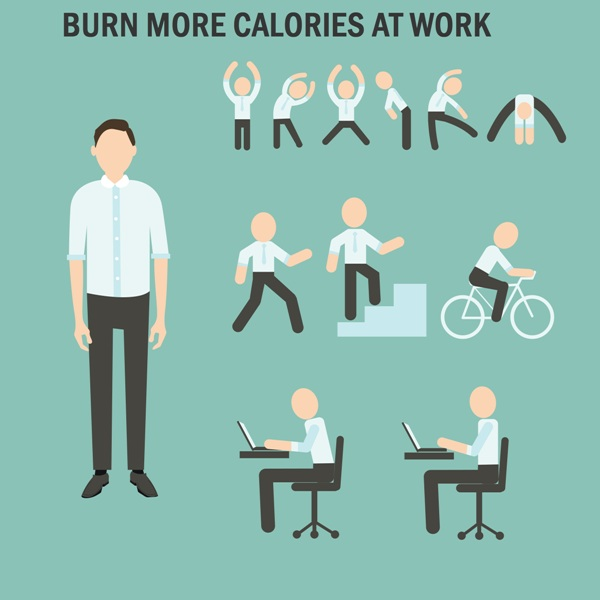 "Office employee cartoon working out with text ""burn more calories at work"""