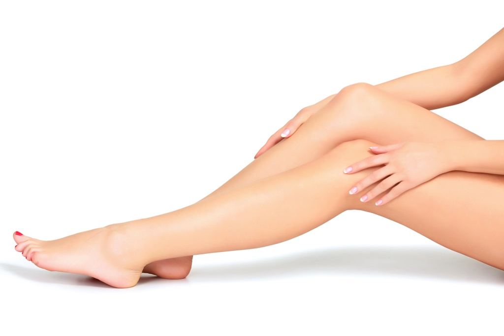 Close-up of legs with healthy, smooth, and glowing skin