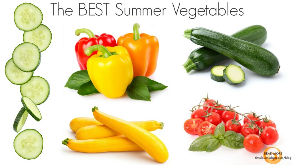 The best summer vegetables like tomatoes, bell peppers, and cucumber