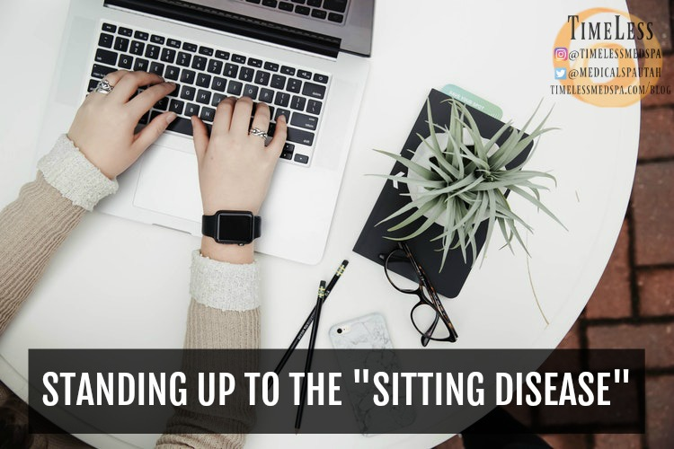 TimeLess Medical Weight Loss Blog: Standing up to the sitting disease // The dangers of sitting all day and exercises to do at your desk. Resistance Bands Workout Video attached.