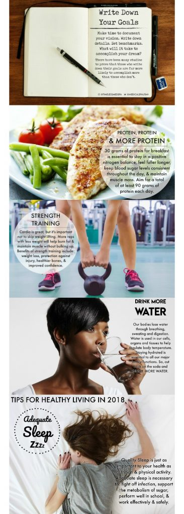 Tips for healthy living like taking more proteins, water, and exercise