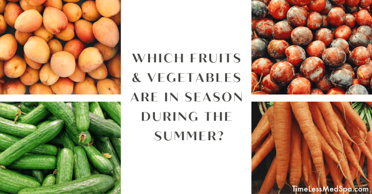 Which fruits and vegetables are in season during the summer?