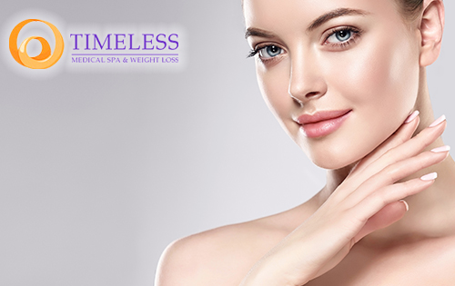 An attractive woman with clear skin and the TimeLess Medical Spa logo