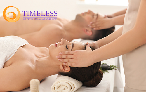A male and female client receiving medical spa services at TimeLess