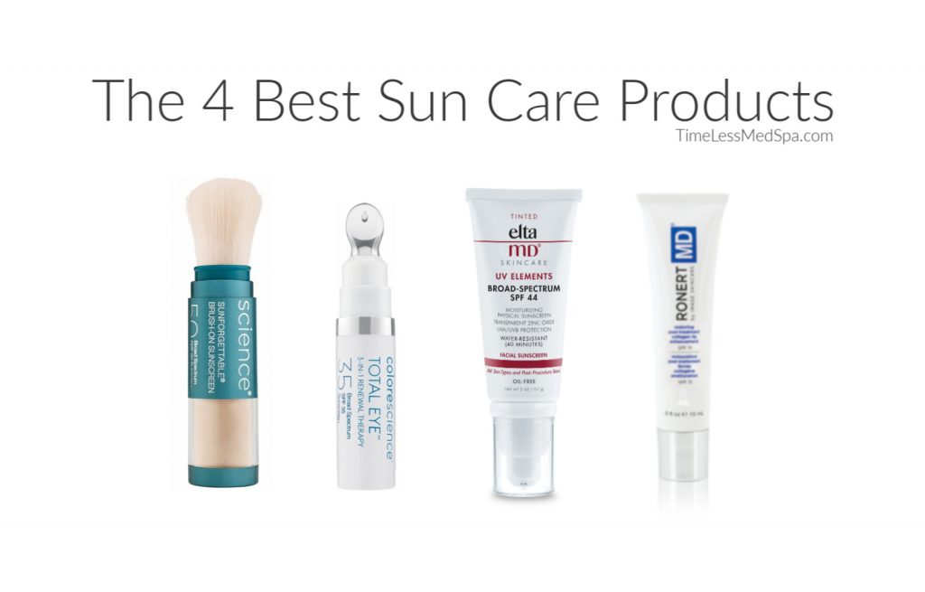 Four effective sunscreen products from Colorescience, Elta MD, and Robert MD