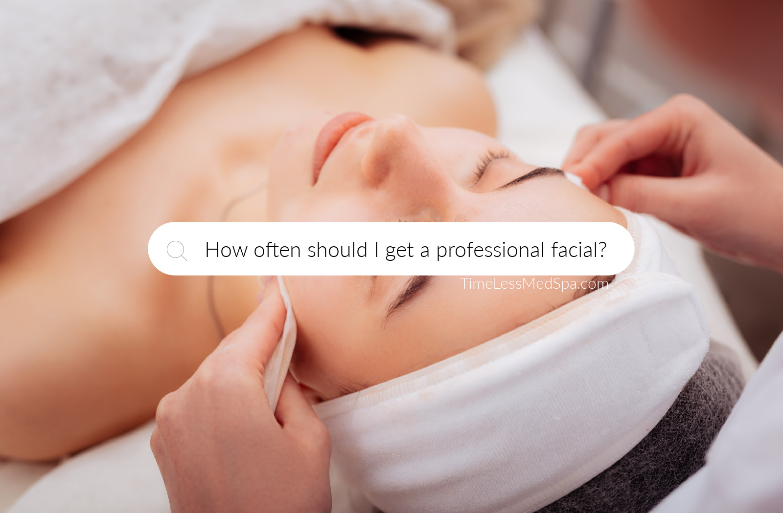 "A woman receiving facial treatment with text ""How often should I get a facial?"""