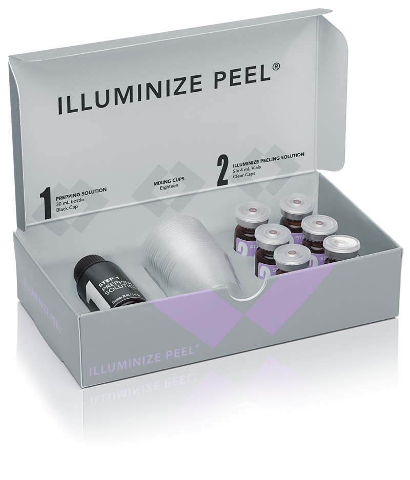 Box of Illuminize Peel products (prepping & peeling solutions with mixing cups)