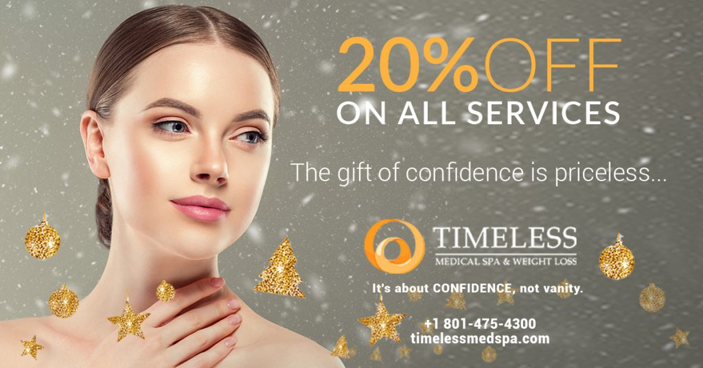 "20% off on all services banner with text ""The gift of confidence is priceless."""